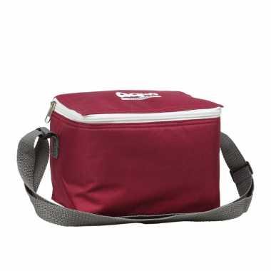 1x rode koeltassen voor 6/sixpack blikjes 25 x 15 cm 5,5 liter met schouderband