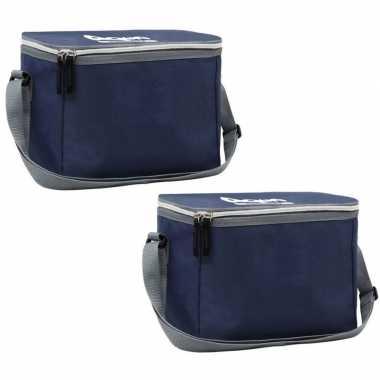 2x navy koeltassen voor 6/sixpack blikjes 26 x 16 cm 7.5 liter met schouderband