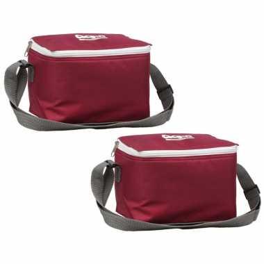 2x rode koeltassen voor 6/sixpack blikjes 26 x 16 cm 7.5 liter met schouderband