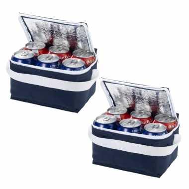 2x stuks donkerblauwe blikjeskoeler koeltassen voor 6 blikken