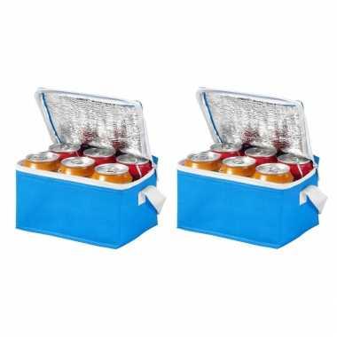 2x stuks koeltas van polypropyleen 6 blikjes blauw