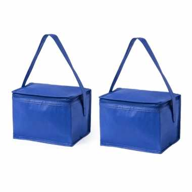 2x stuks koeltassen van polypropyleen sixpack blikjes blauw