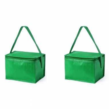 2x stuks koeltassen van polypropyleen sixpack blikjes groen