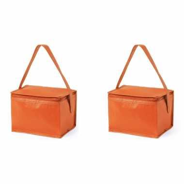 2x stuks koeltassen van polypropyleen sixpack blikjes oranje