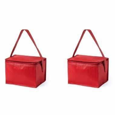 2x stuks koeltassen van polypropyleen sixpack blikjes rood