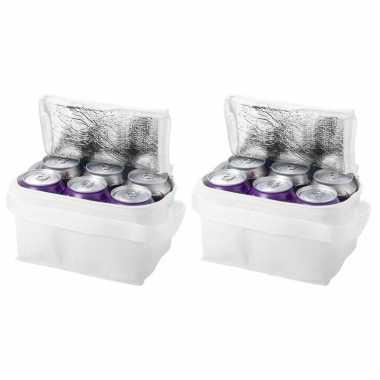 2x witte blikjeskoeler koeltassen voor 6 blikken
