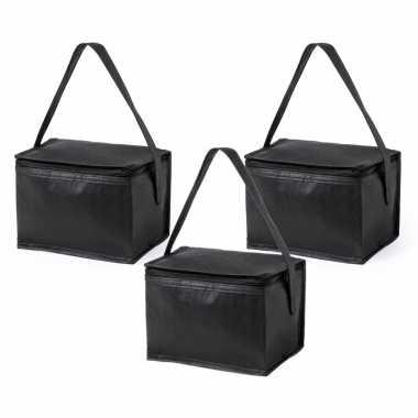3x stuks kleine koeltassen van polypropyleen sixpack blikjes zwart