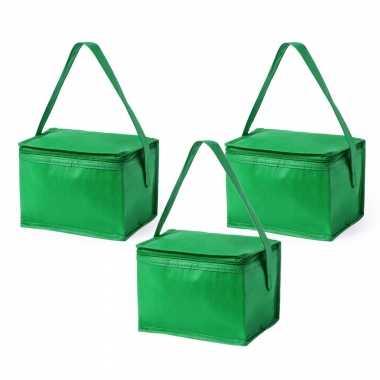 3x stuks koeltassen van polypropyleen sixpack blikjes groen