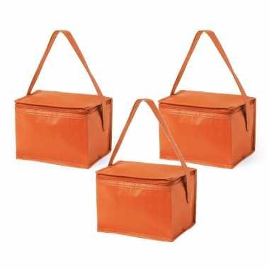 3x stuks koeltassen van polypropyleen sixpack blikjes oranje