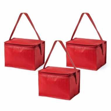 3x stuks koeltassen van polypropyleen sixpack blikjes rood