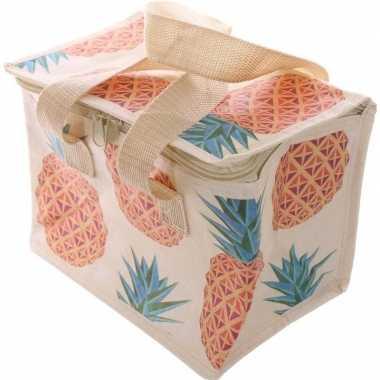 Ananas print blikjeskoeler koeltassen voor sixpack/6 blikken