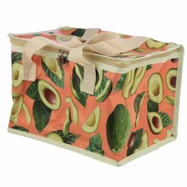 Avocado print roze koeltassen 12 liter