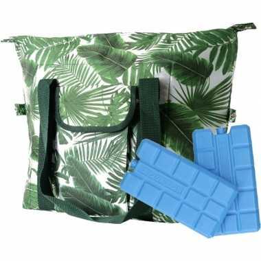 Bladeren print groen koeltassen 40 liter incl. 2 koelelementen