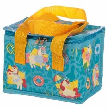 Eenhoorn/unicorn print blauw blikjeskoeler koeltassen voor sixpack/6