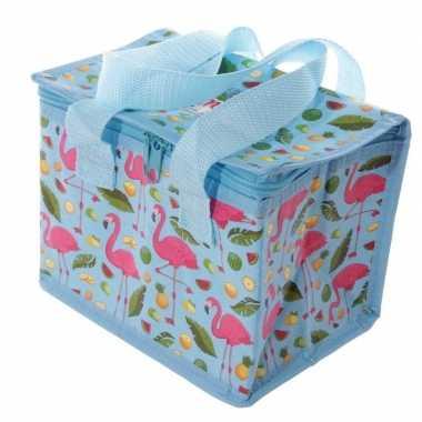 Flamingo print blauw blikjeskoeler koeltassen voor sixpack/6 blikken