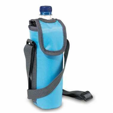 Flessen koeltasje lichtblauw met schouderband