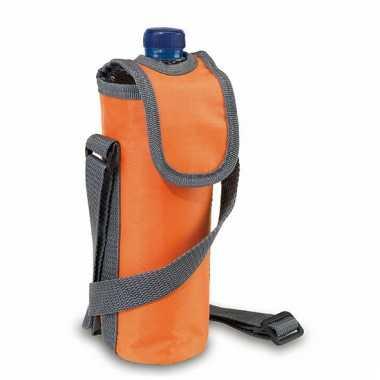 Flessen koeltasje oranje met schouderband