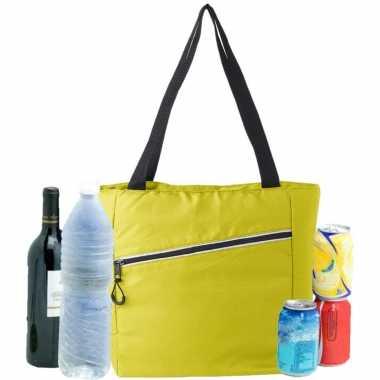 Grote koeltas draagtas/schoudertas geel 30 x 43 x 16 cm 20 liter