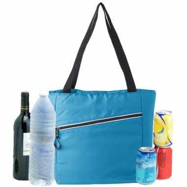 Grote koeltas draagtas/schoudertas lichtblauw 30 x 43 x 16 cm 20 liter