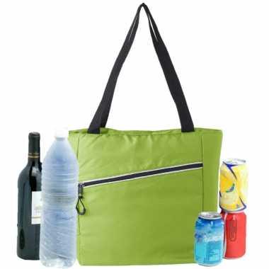Grote koeltas draagtas/schoudertas lime groen 30 x 43 x 16 cm 20 liter