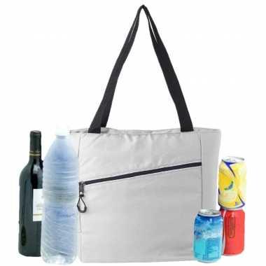 Grote koeltas draagtas/schoudertas wit 30 x 43 x 16 cm 20 liter