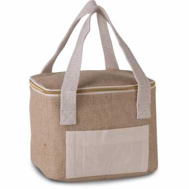 Jute/canvas blikjeskoeler koeltassen voor sixpack/6 blikken