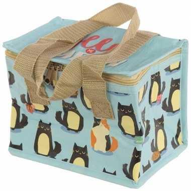Kat/poes print blauw blikjeskoeler koeltassen voor sixpack/6 blikken