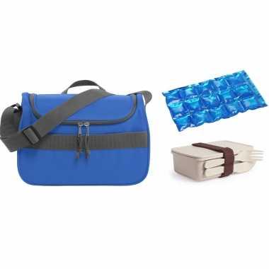 Kleine koeltas voor lunch blauw met lunchbox met bestek en flexibel koelelement 10 liter