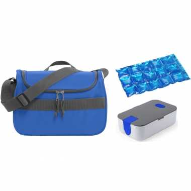 Kleine koeltas voor lunch blauw met lunchtrommel en flexibel koelelement 10 liter