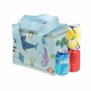 Kleine koeltas voor lunch blauw met zeedieren print 16 x 21 x 14 cm 4,7 liter