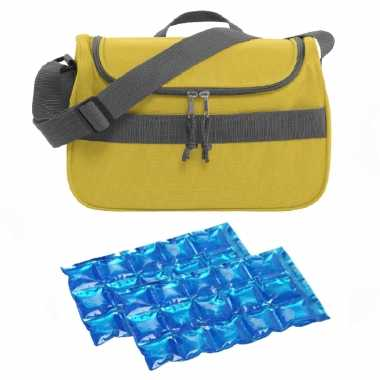 Kleine koeltas voor lunch geel met 2 stuks flexibele koelelementen 10 liter