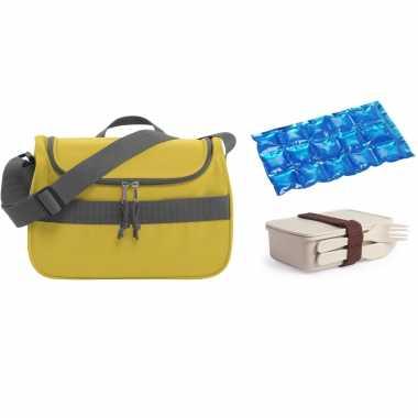 Kleine koeltas voor lunch geel met lunchbox met bestek en flexibel koelelement 10 liter
