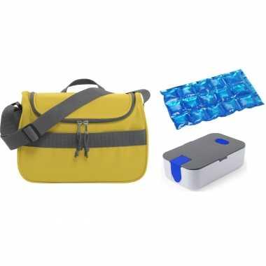 Kleine koeltas voor lunch geel met lunchtrommel en flexibel koelelement 10 liter