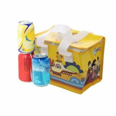 Kleine koeltas voor lunch geel met yellow submarine print 16 x 21 x 14 cm 4,7 liter