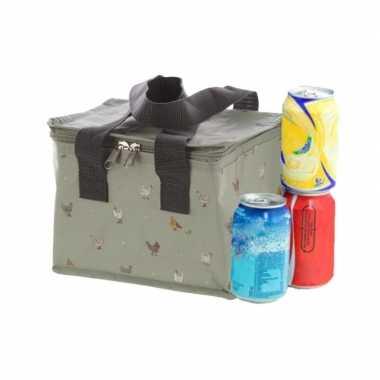 Kleine koeltas voor lunch grijs met kippen print 16 x 21 x 14 cm 4,7 liter
