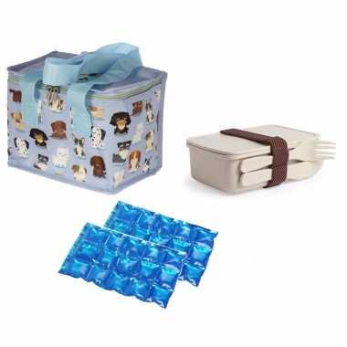 Kleine koeltas voor lunch honden print met lunchbox met bestek en flexibel koelelement
