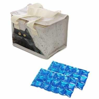 Kleine koeltas voor lunch kim haskins katten print met 2 stuks flexibele koelelementen