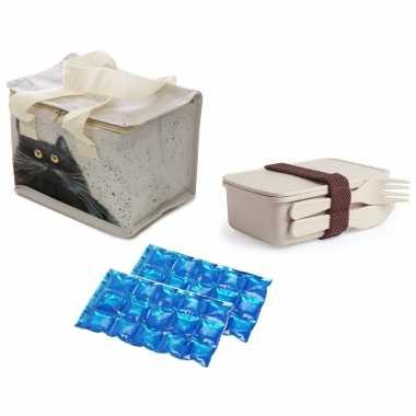 Kleine koeltas voor lunch kim haskins katten print met lunchbox met bestek en flexibel koelelement
