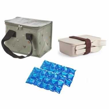 Kleine koeltas voor lunch kippen print met lunchbox met bestek en flexibel koelelement