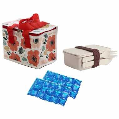 Kleine koeltas voor lunch klaprozen print met lunchbox met bestek en flexibel koelelement