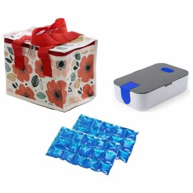 Kleine koeltas voor lunch klaprozen print met lunchtrommel en flexibel koelelement