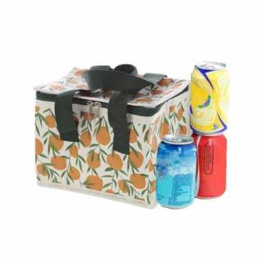 Kleine koeltas voor lunch met sinasappels print 16 x 21 x 14 cm 4,7 liter