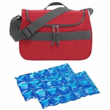 Kleine koeltas voor lunch rood met 2 stuks flexibele koelelementen 10 liter