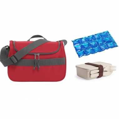 Kleine koeltas voor lunch rood met lunchbox met bestek en flexibel koelelement 10 liter