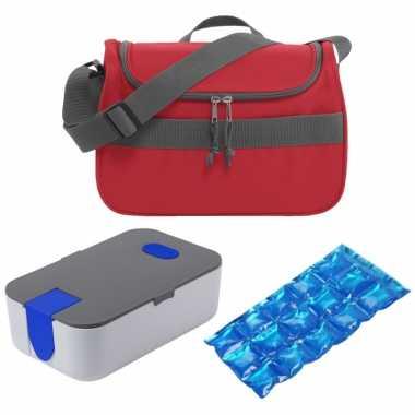 Kleine koeltas voor lunch rood met lunchtrommel en flexibel koelelement 10 liter
