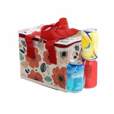 Kleine koeltas voor lunch rood/wit met klaprozen print 16 x 21 x 14 cm 4,7 liter