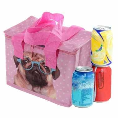Kleine koeltas voor lunch roze met mopshond print 16 x 21 x 14 cm 4,7 liter