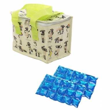 Kleine koeltas voor lunch shaun het schaap print met 2 stuks flexibele koelelementen