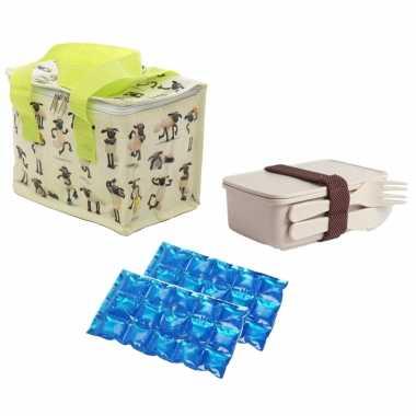 Kleine koeltas voor lunch shaun het schaap print met lunchbox met bestek en flexibel koelelement