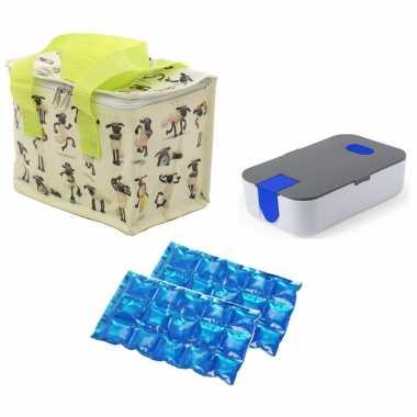 Kleine koeltas voor lunch shaun het schaap print met lunchtrommel en flexibel koelelement